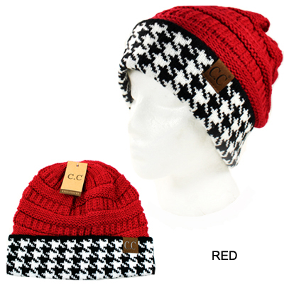 DZ-KINTTED BEANNIE W HOUNDSTOOTH(CB0002-HAT12)