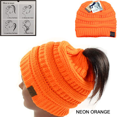 DZ-BEANIE PONYTAIL NEON COLOR C.C HAT(CB0014-MB20A)