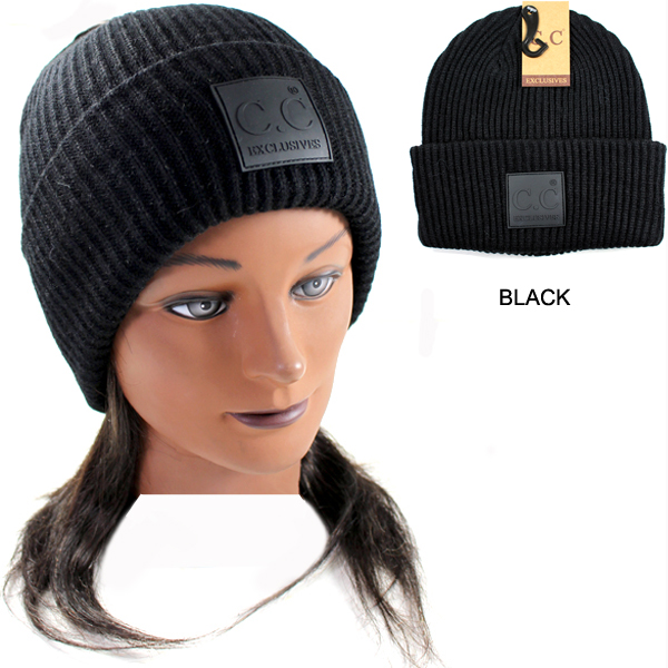 DZ-C.C KNIT BEANIE WITH C.C RUBBER(CB0022-HAT7007)