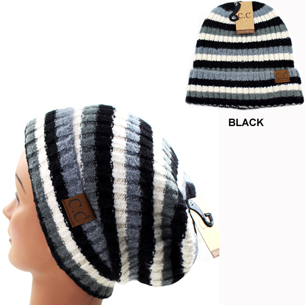 DZ-C.C MULTI COLOR STRIPED KNIT BEANIE(CB0024-HAT7013)