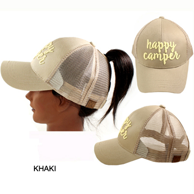 C.C PONY W/3D EMBROIDERED CAP/HAPPY CAMPER(CC0014-BT10)