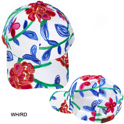 C.C FLOWER EMBROIDERED MESH BACK CAP(CC0020-BA752)