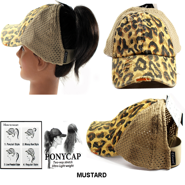 C.C LEOPARD DISTRESSED DENIM CAP(CC0025-BT786)