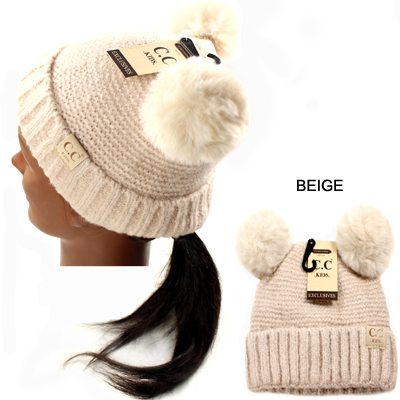 DZ/KIDS-C.C KIDS HAT W DOUBLE POMPOM(CK0001-KID27)