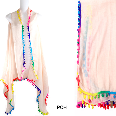 MULTI COLOR POMPOM VEST(CLA0023-LOF408)