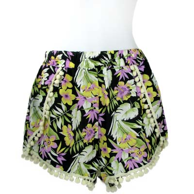 6PC-PRINT POMPOM SHORTS(CLA0031-SH15-04)