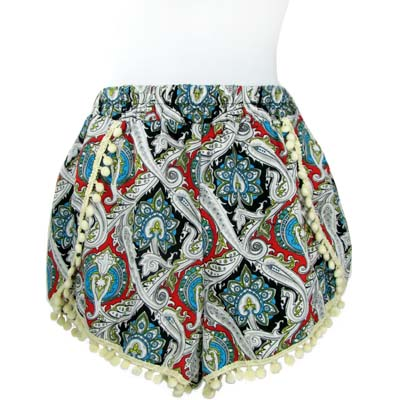 6PC-PRINT POMPOM SHORTS(CLA0032-SH15-06)