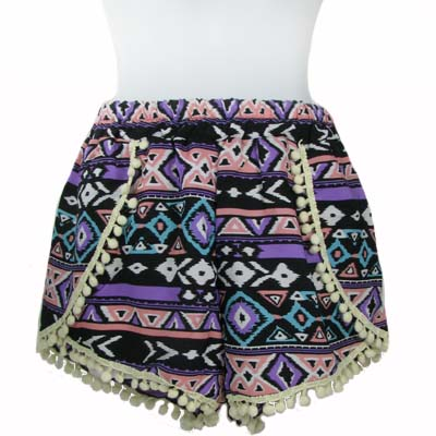 6PC-PRINT POMPOM SHORTS(CLA0033-SH15-08)