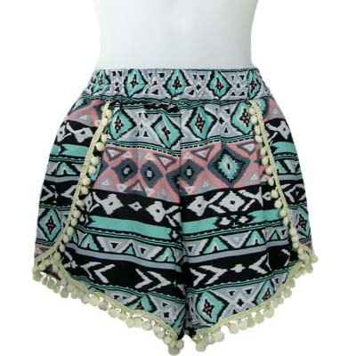6PC-PRINT POMPOM SHORTS(CLA0034-SH15-09)