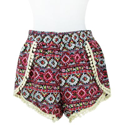 6PC-PRINT POMPOM SHORTS(CLA0037-SH15-13)