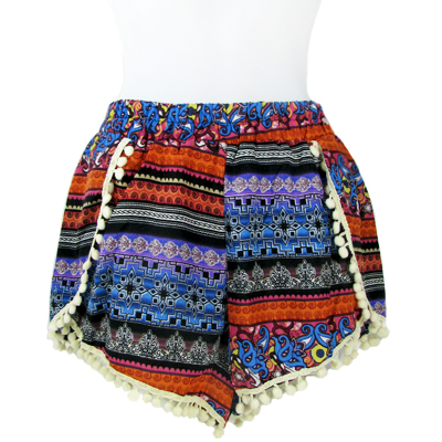 6PC-PRINT POMPOM SHORTS(CLA0038-SH15-14)