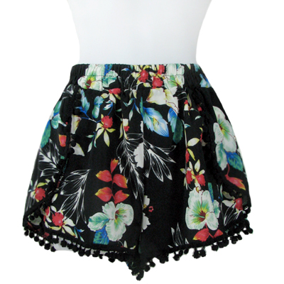 6PC-PRINT POMPOM SHORTS(CLA0039-SH15-15)
