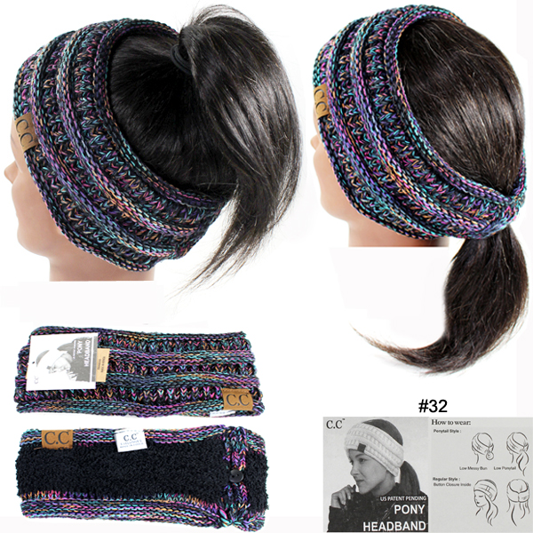 DZ-C.C 4TONE RIBBED KNIT PONYTAIL H/BAND(CW0008-HB826)