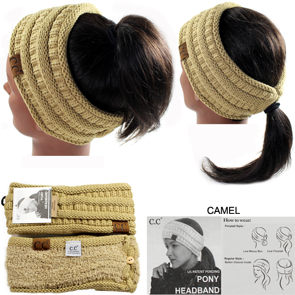 DZ-C.C SOLID RIBBED PONYTAIL H/BAND(CW0009-HB21)