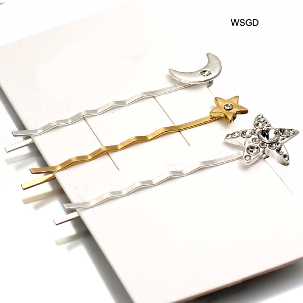 METAL STAR 3 PIECE MOON HAIR PIN(HP0008-FH0011)