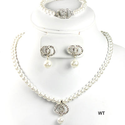 "FASHION RHINESTONE PEARL 3PC NK SET15""(NP0013-S15546)"