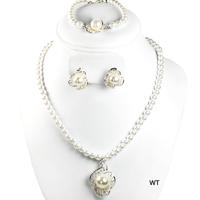 "FASHION RHINESTONE PEARL 3PC NK SET15""(NP0014-S15795)"