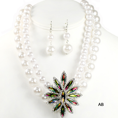 "FASHION PEARL W STONE NK SET14.5""(NP0038-JWN1270)"