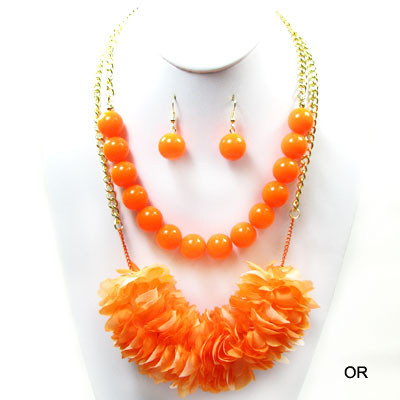 "NEON FLOWER W BEAD COLOR NK SET19""(NT0207-NK04220)"