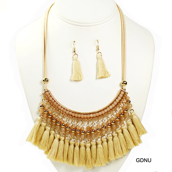 "FASHION BEAD W TASSEL NK SET18""(NT0219-MNE6407)"