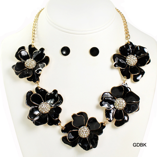 "FASHION EPOXY FLOWER W STONE NK SET18""(NT0224-MNE6476)"