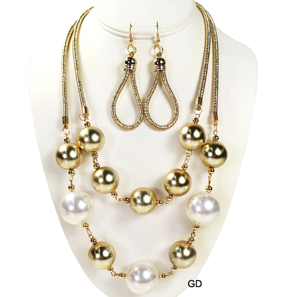 "FASHION PEARL W BALL NK SET19""(NT0284-JSN2301)"