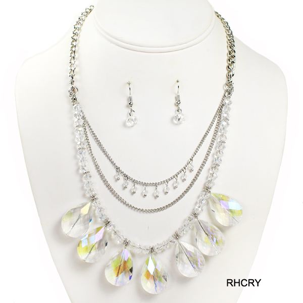 "FASHION LAYERED GLASS BEAD NK SET18""(NT0311-MNE6765)"