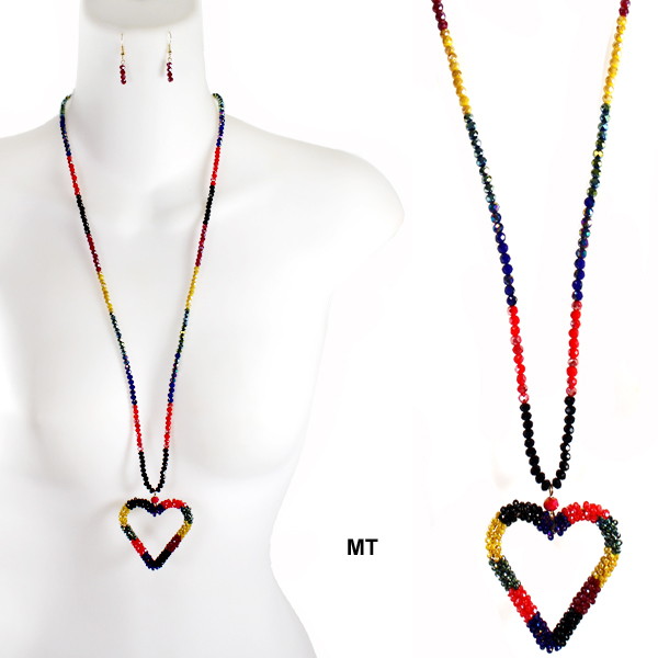 "FASHION GLASS BEAD HEART NK SET29.5""(NT0434-FNE6680)"