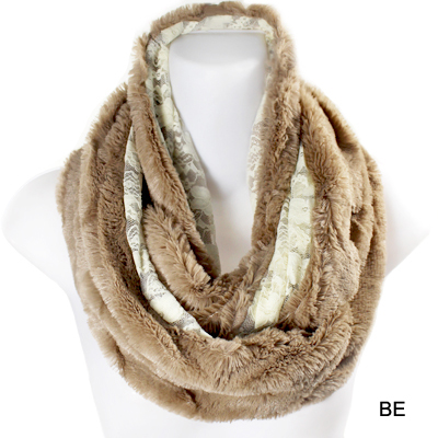 FASHION FUR W LACE INFINITY SCARF(SCA0024-FSS20001)