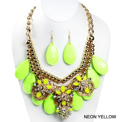 "FASHION NEON COLORFUL W STONE NK SET17.5""(SN0009-INE0581)"