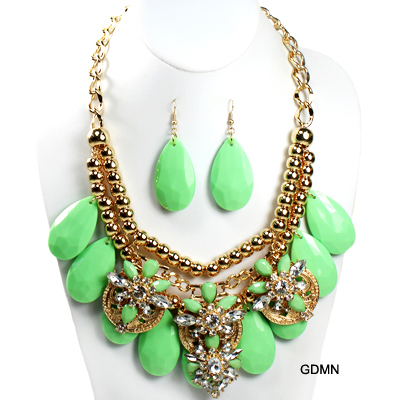 "FASHION COLORFUL W STONE NK SET17.5""(SN0010-INE0581)"