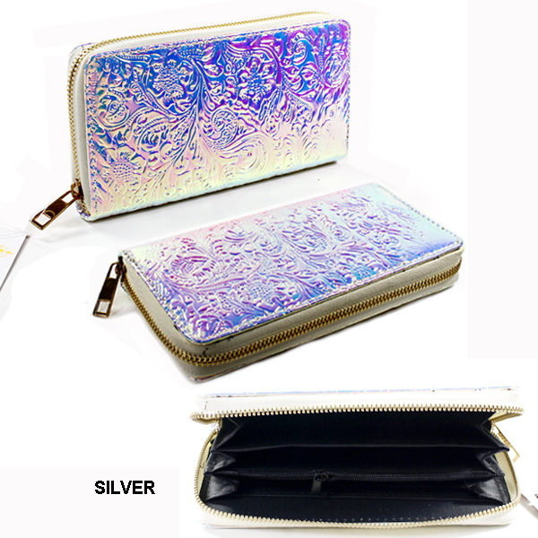 HOLOGRAPHIC SINGLE ZIPPER WALLET(WH0014-WA0058)