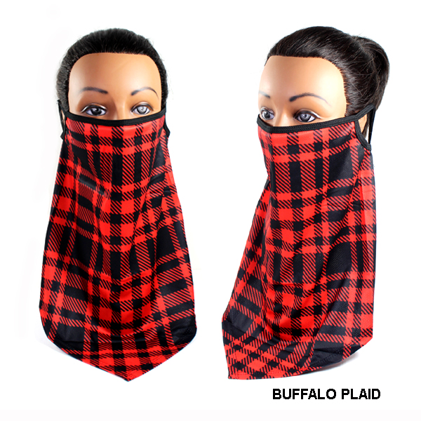 DZ-FASHION BUFFALO PLAID DZ MASK SCARF(MK-DZ0237-MAC)