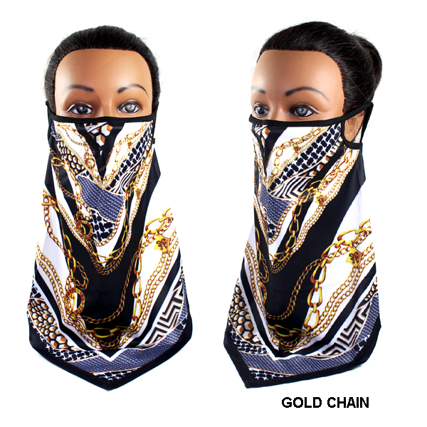 DZ-FASHION GOLD CHAIN DZ MASK SCARF(MK-DZ0238-MAC)