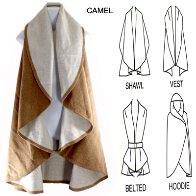 TWO TONE REVERSABLE SHAWL VEST(SHA0001-MSV0001)