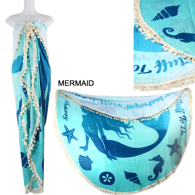 "59""ROUND MERMAID BEACH COVER UP(SHA0014-LOF504)"