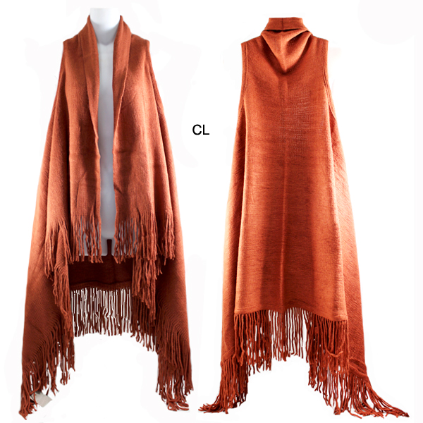 FASHION SOLID FRINGE VEST(SHA0025-MSV0006)